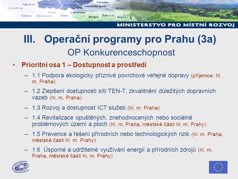 III. Operační programy pro Prahu (3a) OP Konkurenceschopnost Prioritní osa 1 – Dostupnost a prostředí –1.1 Podpora ekologicky příznivé povrchové veřej