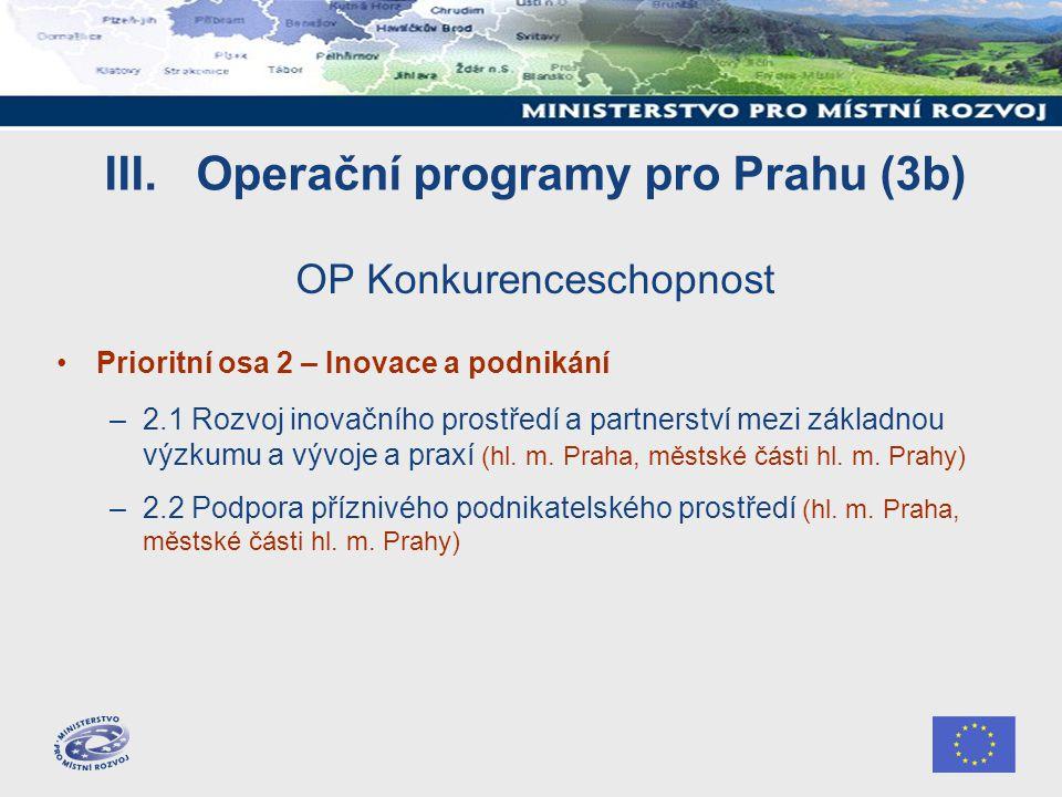 III. Operační programy pro Prahu (3b) OP Konkurenceschopnost Prioritní osa 2 – Inovace a podnikání –2.1 Rozvoj inovačního prostředí a partnerství mezi