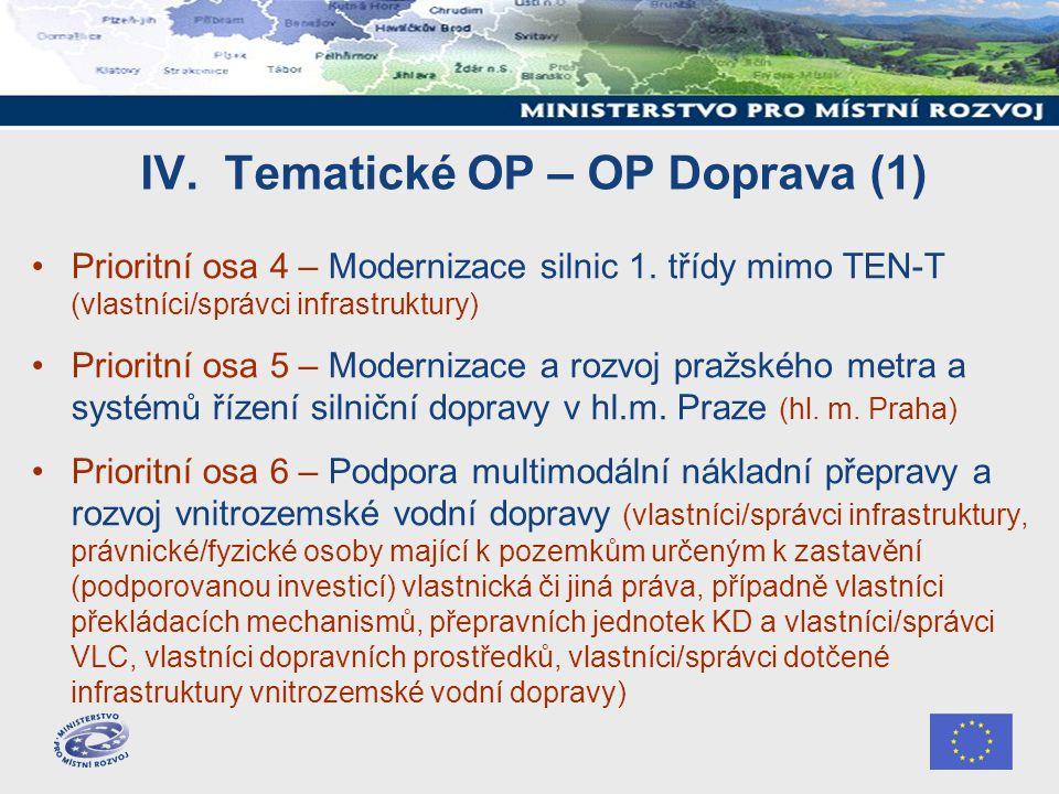 IV. Tematické OP – OP Doprava (1) Prioritní osa 4 – Modernizace silnic 1.