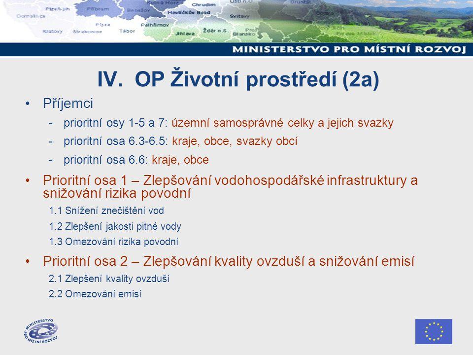 IV. OP Životní prostředí (2a) Příjemci -prioritní osy 1-5 a 7: územní samosprávné celky a jejich svazky -prioritní osa 6.3-6.5: kraje, obce, svazky ob