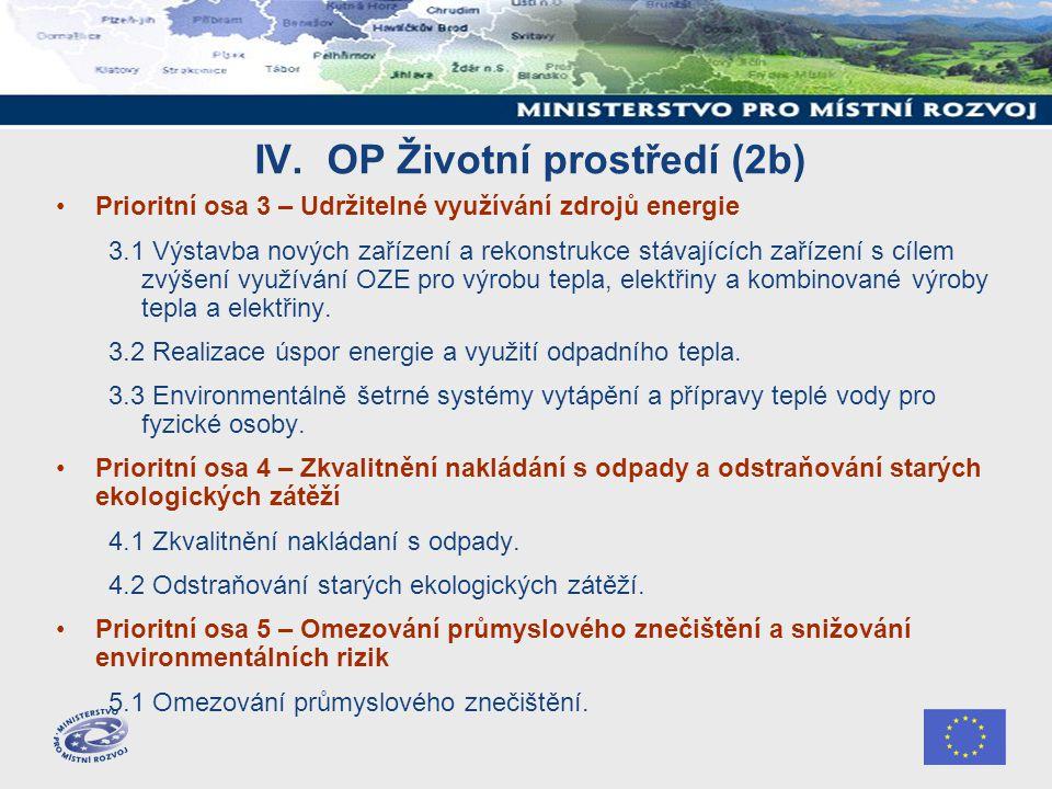 IV. OP Životní prostředí (2b) Prioritní osa 3 – Udržitelné využívání zdrojů energie 3.1 Výstavba nových zařízení a rekonstrukce stávajících zařízení s