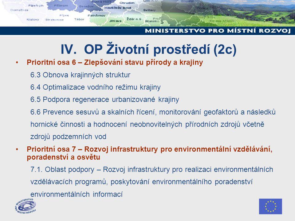 IV. OP Životní prostředí (2c) Prioritní osa 6 – Zlepšování stavu přírody a krajiny 6.3 Obnova krajinných struktur 6.4 Optimalizace vodního režimu kraj