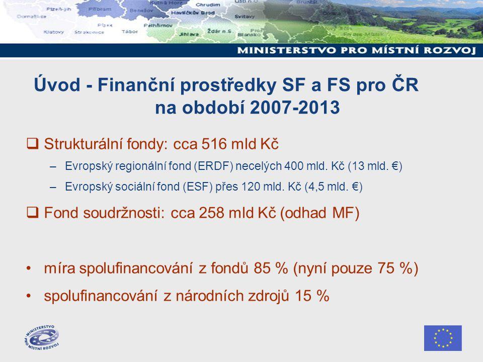 I.Operační programy obecně – oblasti podpory (1) 1) Cíl Konvergence 25, 9 mld.