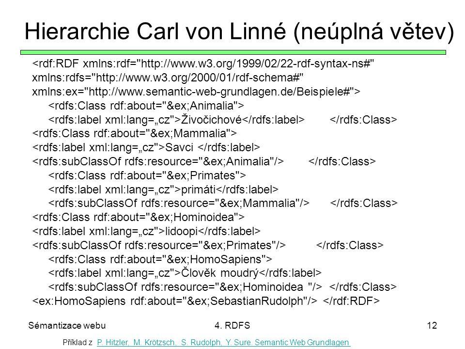 Sémantizace webu4. RDFS12 Hierarchie Carl von Linné (neúplná větev) Příklad z P. Hitzler, M. Krötzsch, S. Rudolph, Y. Sure. Semantic Web GrundlagenP.