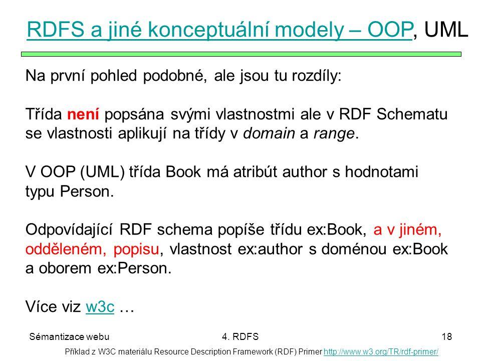 Sémantizace webu4. RDFS18 Příklad z W3C materiálu Resource Description Framework (RDF) Primer http://www.w3.org/TR/rdf-primer/http://www.w3.org/TR/rdf