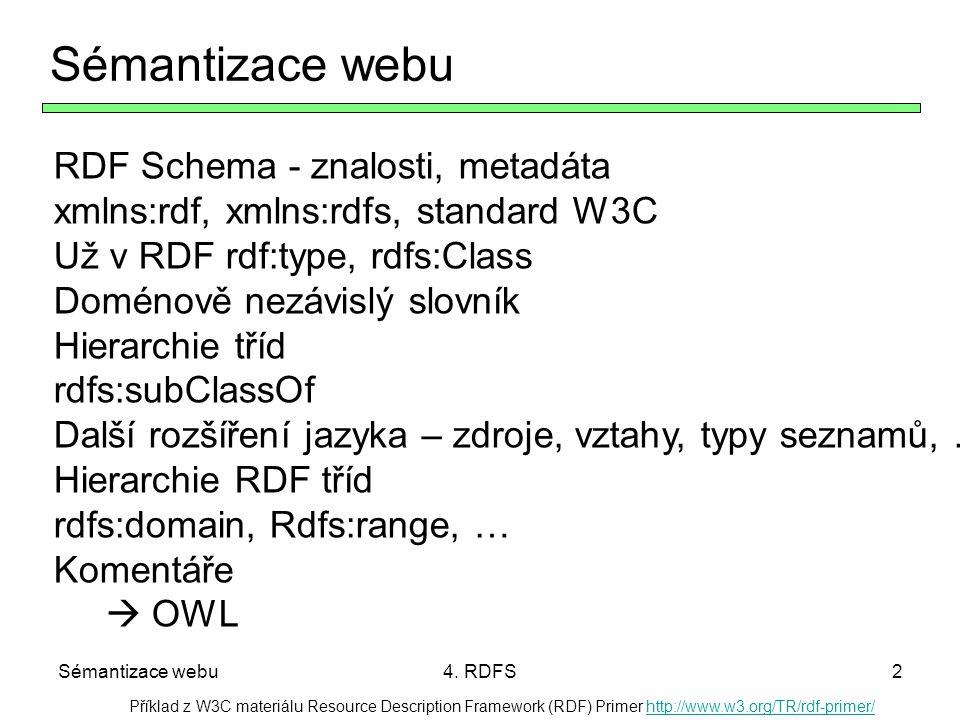 Sémantizace webu4. RDFS2 Sémantizace webu RDF Schema - znalosti, metadáta xmlns:rdf, xmlns:rdfs, standard W3C Už v RDF rdf:type, rdfs:Class Doménově n