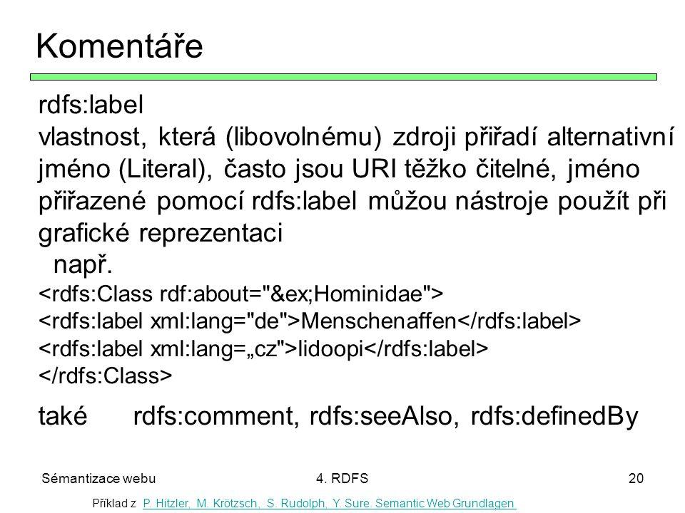Sémantizace webu4. RDFS20 Komentáře rdfs:label vlastnost, která (libovolnému) zdroji přiřadí alternativní jméno (Literal), často jsou URI těžko čiteln
