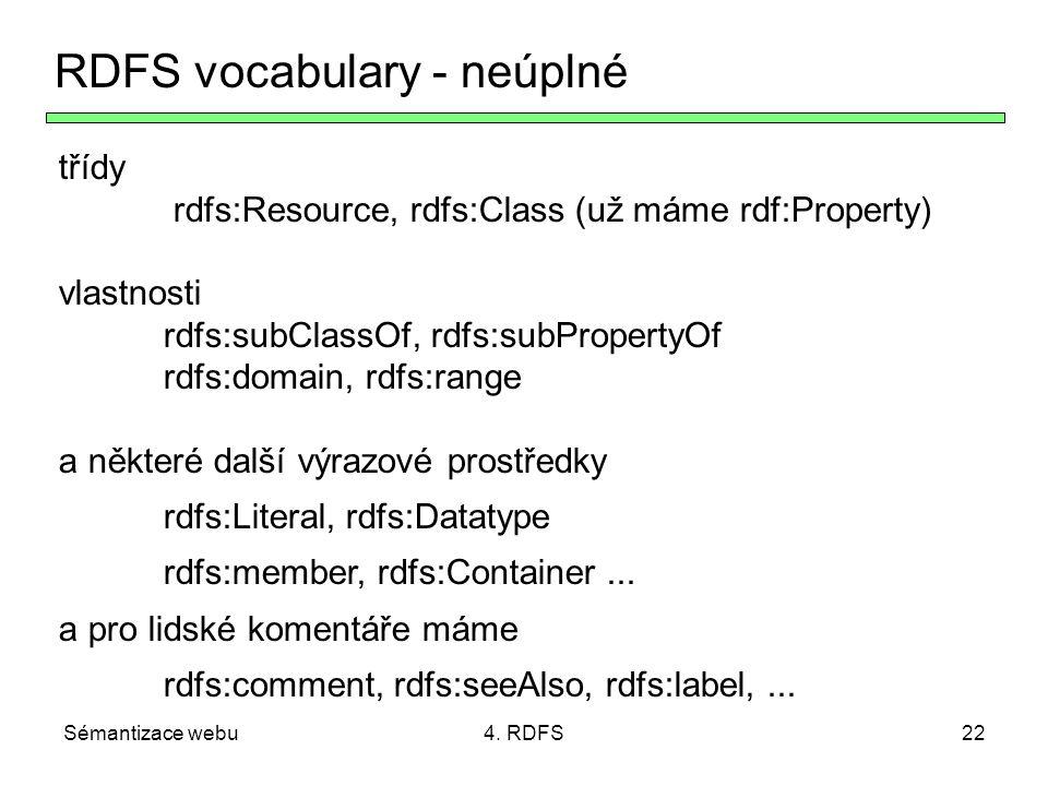 Sémantizace webu4. RDFS22 RDFS vocabulary - neúplné třídy rdfs:Resource, rdfs:Class (už máme rdf:Property) vlastnosti rdfs:subClassOf, rdfs:subPropert