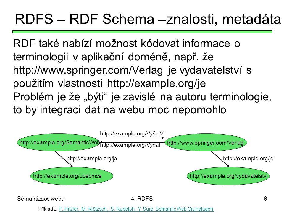Sémantizace webu4. RDFS6 RDFS – RDF Schema –znalosti, metadáta RDF také nabízí možnost kódovat informace o terminologii v aplikační doméně, např. že h