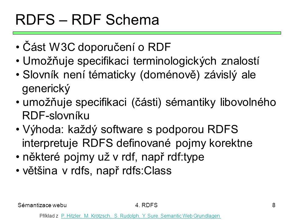 Sémantizace webu4. RDFS8 RDFS – RDF Schema Část W3C doporučení o RDF Umožňuje specifikaci terminologických znalostí Slovník není tématicky (doménově)