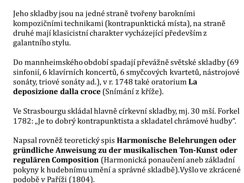 První generace mannheimské školy: J.V. Stamic, F.