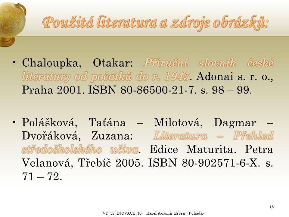 13 VY_32_INOVACE_10 - Karel Jaromír Erben - Pohádky