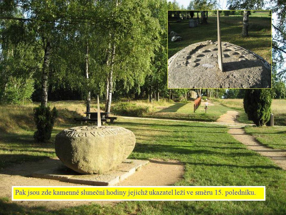 Pak jsou zde kamenné sluneční hodiny jejichž ukazatel leží ve směru 15. poledníku.