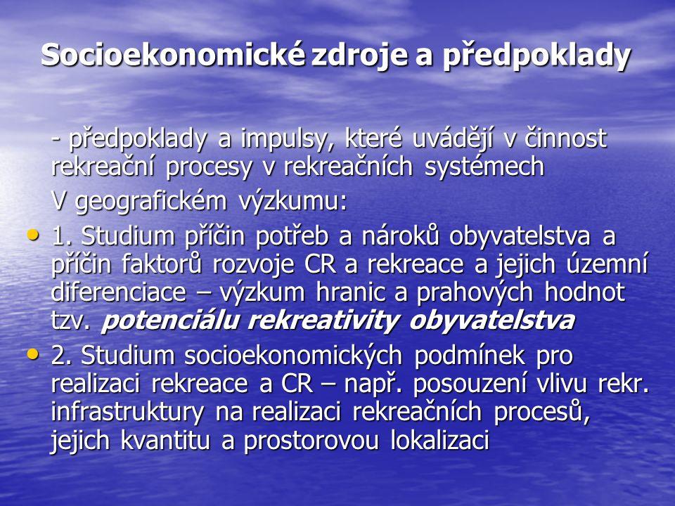 Socioekonomické zdroje a předpoklady - předpoklady a impulsy, které uvádějí v činnost rekreační procesy v rekreačních systémech V geografickém výzkumu