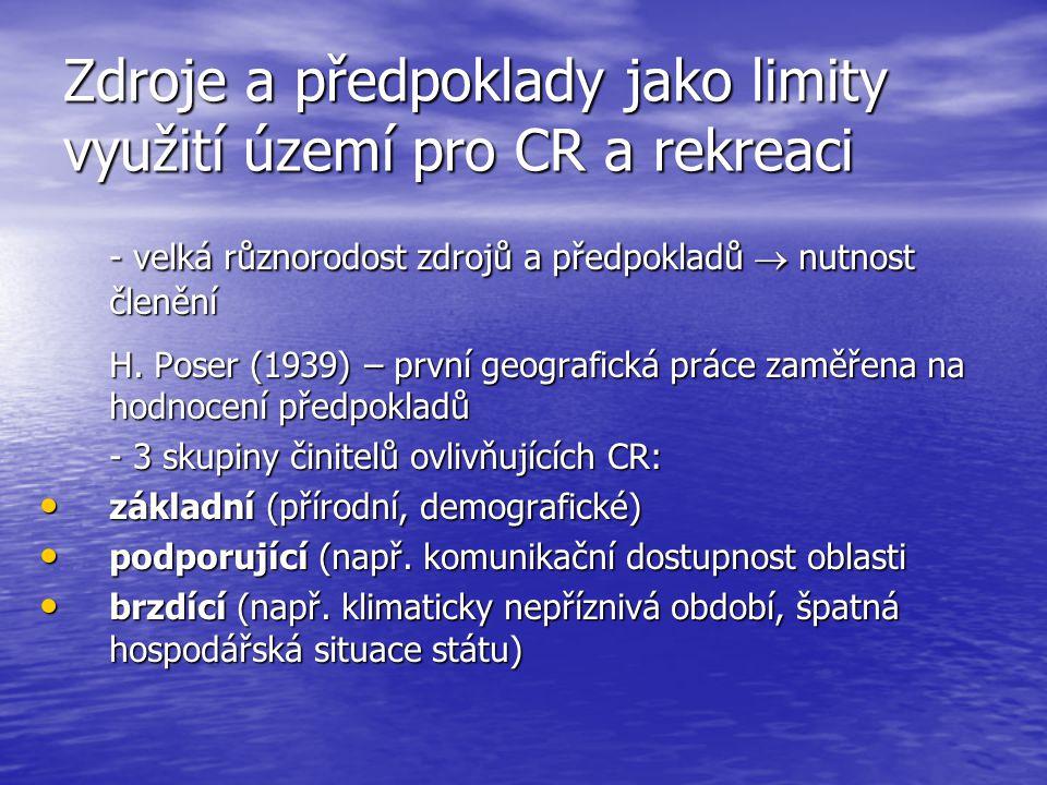 Zdroje a předpoklady jako limity využití území pro CR a rekreaci - velká různorodost zdrojů a předpokladů  nutnost členění H. Poser (1939) – první ge