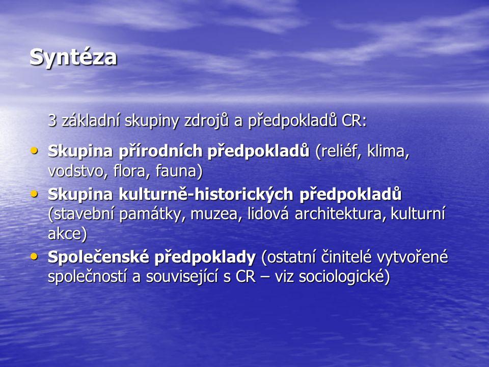 Syntéza 3 základní skupiny zdrojů a předpokladů CR: Skupina přírodních předpokladů (reliéf, klima, vodstvo, flora, fauna) Skupina přírodních předpokla