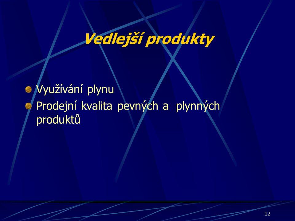 12 Vedlejší produkty Využívání plynu Prodejní kvalita pevných a plynných produktů