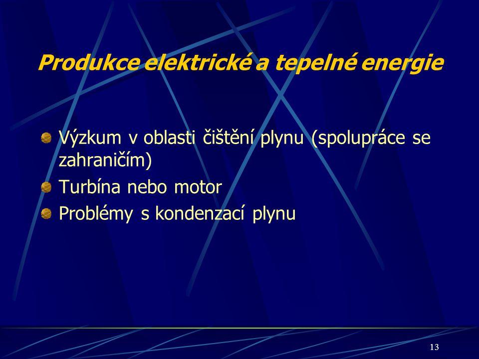 13 Produkce elektrické a tepelné energie Výzkum v oblasti čištění plynu (spolupráce se zahraničím) Turbína nebo motor Problémy s kondenzací plynu