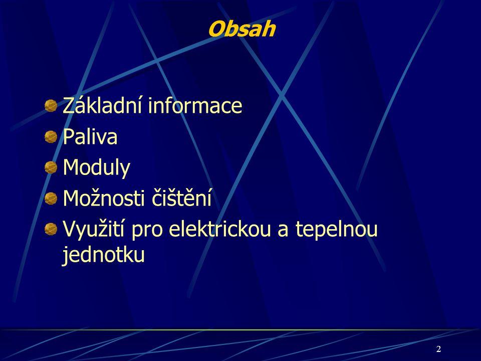 2 Obsah Základní informace Paliva Moduly Možnosti čištění Využití pro elektrickou a tepelnou jednotku