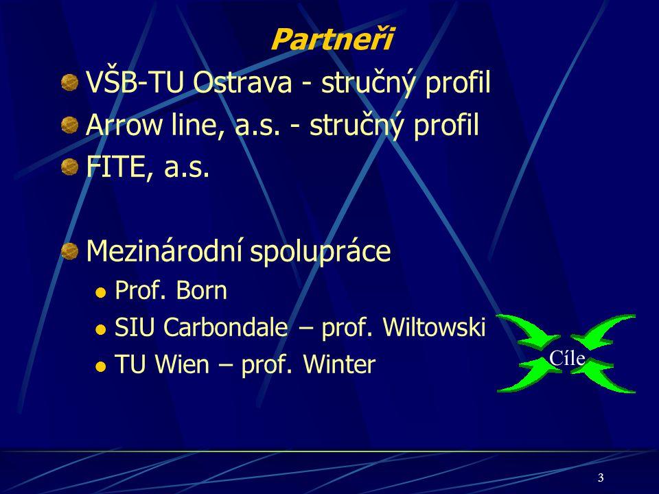 3 Partneři VŠB-TU Ostrava - stručný profil Arrow line, a.s. - stručný profil FITE, a.s. Mezinárodní spolupráce Prof. Born SIU Carbondale – prof. Wilto