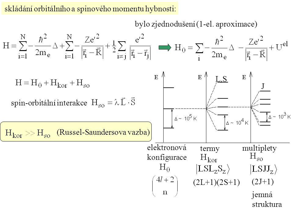 skládání orbitálního a spinového momentu hybnosti: bylo zjednodušení (1-el. aproximace) spin-orbitální interakce (Russel-Saundersova vazba) elektronov