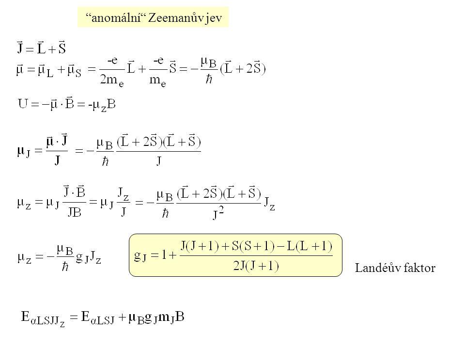 """""""anomální"""" Zeemanův jev Landéův faktor"""