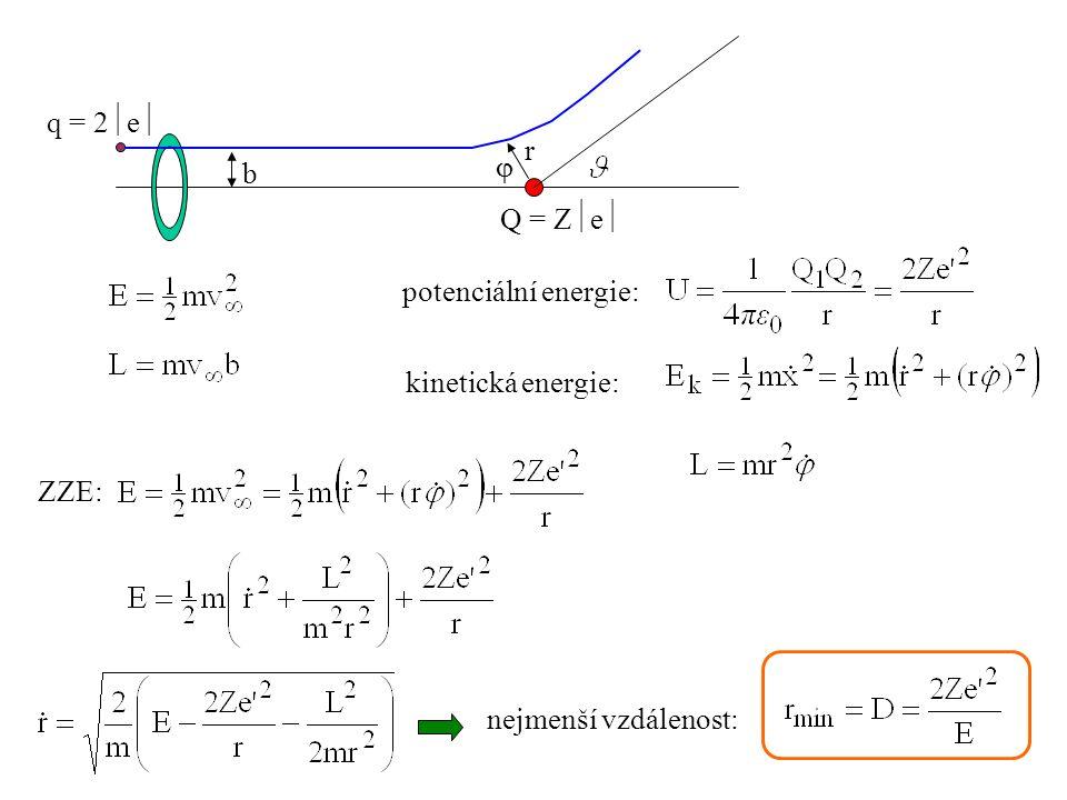 r  b Q = Z  e  q = 2  e  potenciální energie: ZZE: kinetická energie: nejmenší vzdálenost: