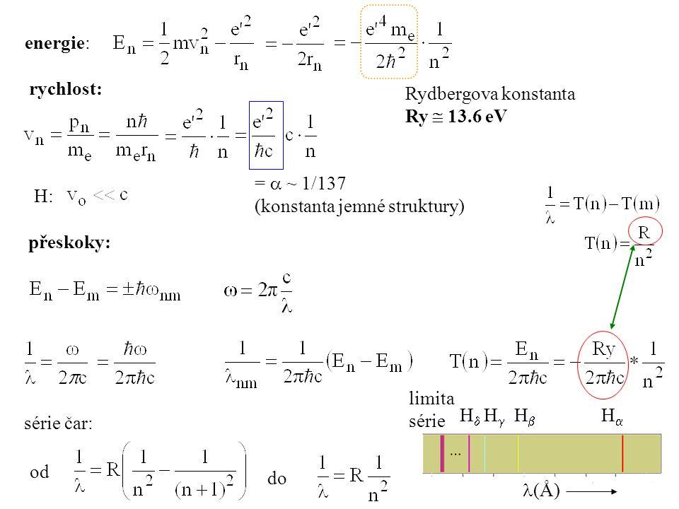 přeskoky: série čar: od do rychlost: =  ~ 1/137 (konstanta jemné struktury) H: HH HH HH HH (Å) limita série Rydbergova konstanta Ry  13.6 eV
