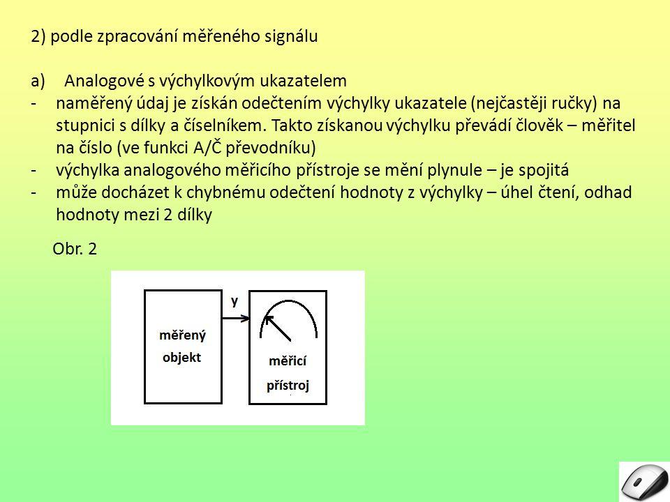2) podle zpracování měřeného signálu a)Analogové s výchylkovým ukazatelem -naměřený údaj je získán odečtením výchylky ukazatele (nejčastěji ručky) na stupnici s dílky a číselníkem.
