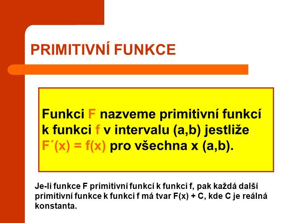 PRIMITIVNÍ FUNKCE Funkci F nazveme primitivní funkcí k funkci f v intervalu (a,b) jestliže F´(x) = f(x) pro všechna x (a,b).