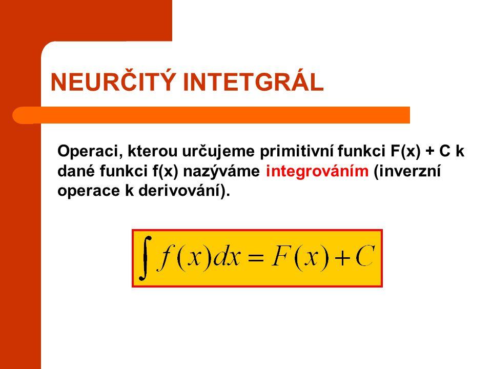 NEURČITÝ INTETGRÁL Operaci, kterou určujeme primitivní funkci F(x) + C k dané funkci f(x) nazýváme integrováním (inverzní operace k derivování).