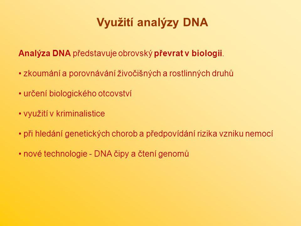 Využití analýzy DNA Analýza DNA představuje obrovský převrat v biologii. zkoumání a porovnávání živočišných a rostlinných druhů určení biologického ot