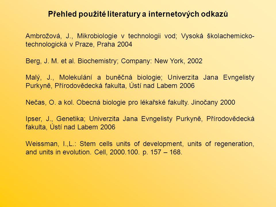 Přehled použité literatury a internetových odkazů Ambrožová, J., Mikrobiologie v technologii vod; Vysoká školachemicko- technologická v Praze, Praha 2