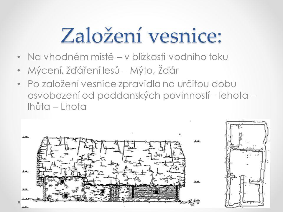 Založení vesnice: Na vhodném místě – v blízkosti vodního toku Mýcení, žďáření lesů – Mýto, Žďár Po založení vesnice zpravidla na určitou dobu osvoboze