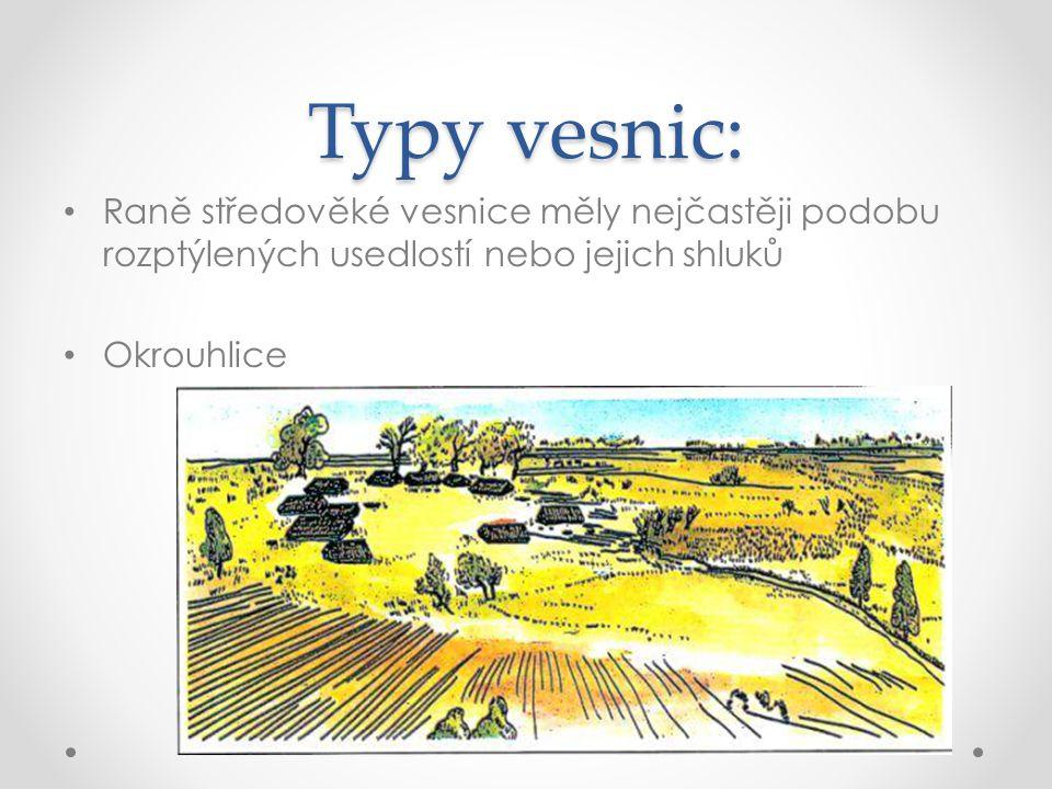 Typy vesnic: Raně středověké vesnice měly nejčastěji podobu rozptýlených usedlostí nebo jejich shluků Okrouhlice