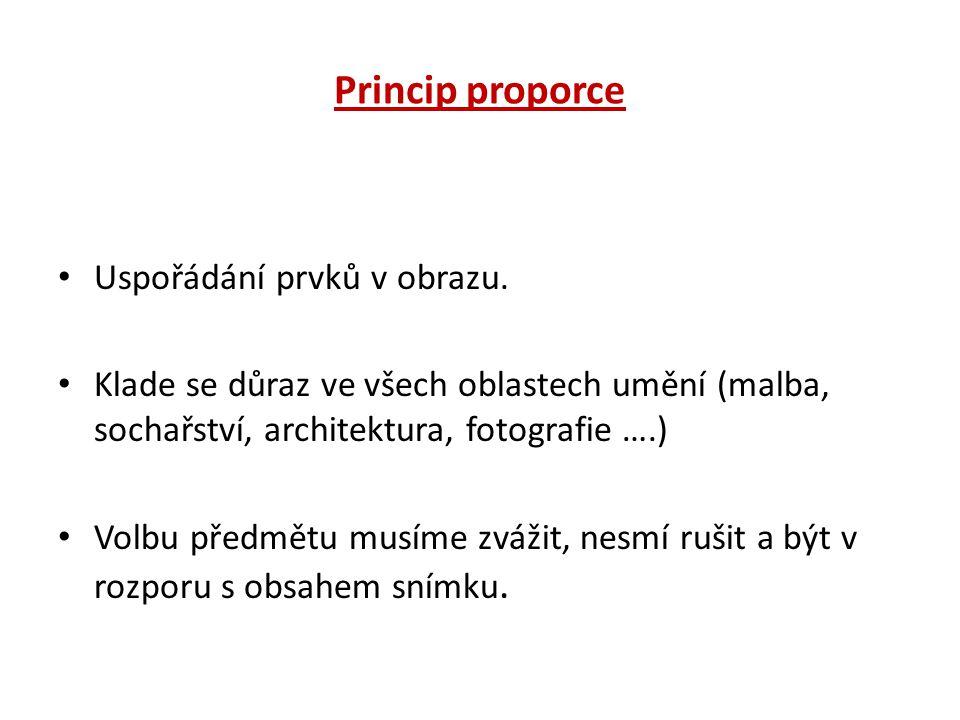 Princip proporce Uspořádání prvků v obrazu.