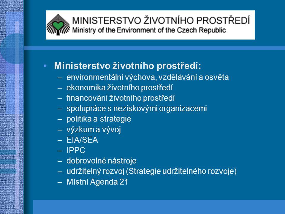 Ministerstvo životního prostředí: –environmentální výchova, vzdělávání a osvěta –ekonomika životního prostředí –financování životního prostředí –spolu