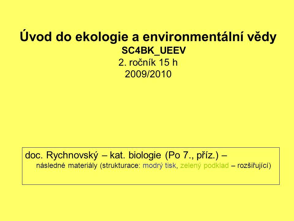 doc. Rychnovský – kat. biologie (Po 7., příz.) – následné materiály (strukturace: modrý tisk, zelený podklad – rozšiřující) Úvod do ekologie a environ