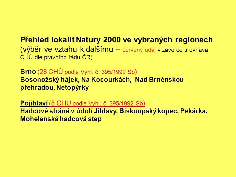 Přehled lokalit Natury 2000 ve vybraných regionech (výběr ve vztahu k dalšímu – červený údaj v závorce srovnává CHÚ dle právního řádu ČR) Brno (28 CHÚ