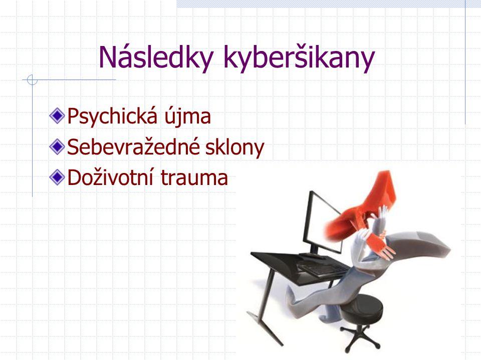 Následky kyberšikany Psychická újma Sebevražedné sklony Doživotní trauma