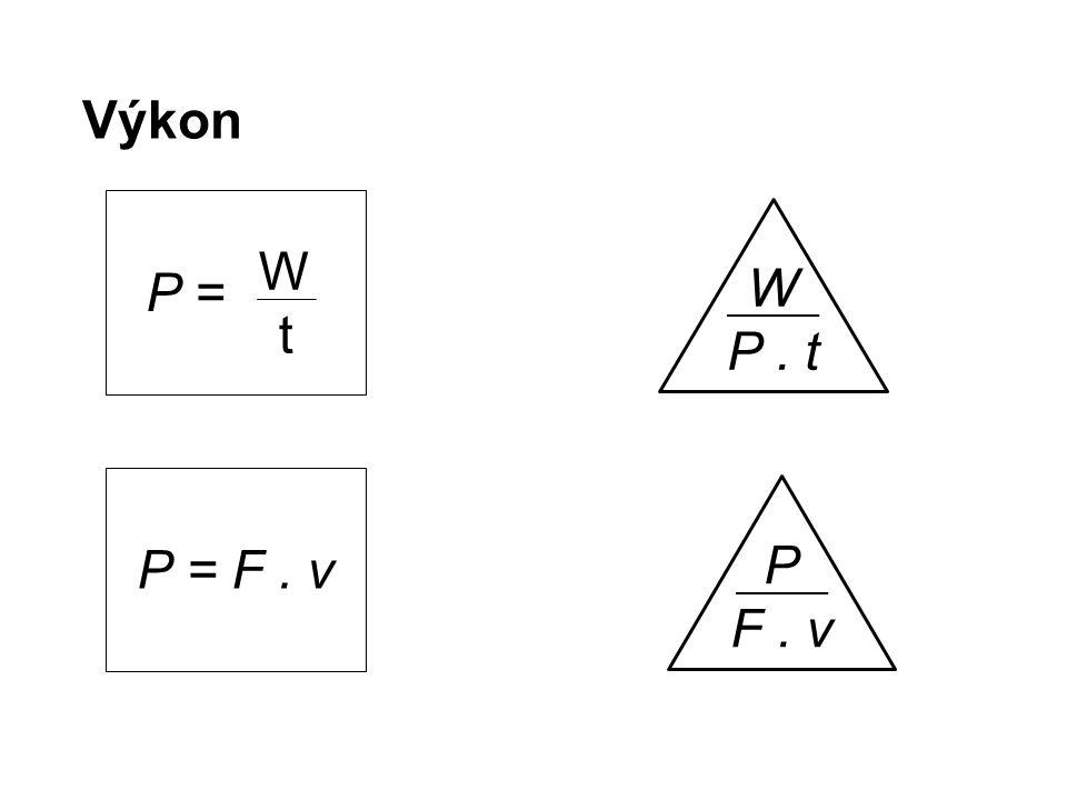 Výkon W P. t P = WtWt P F. v P = F. v