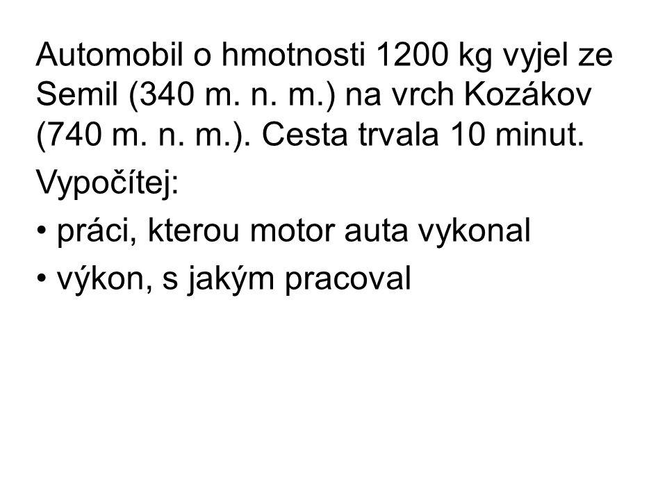 Automobil o hmotnosti 1200 kg vyjel ze Semil (340 m.