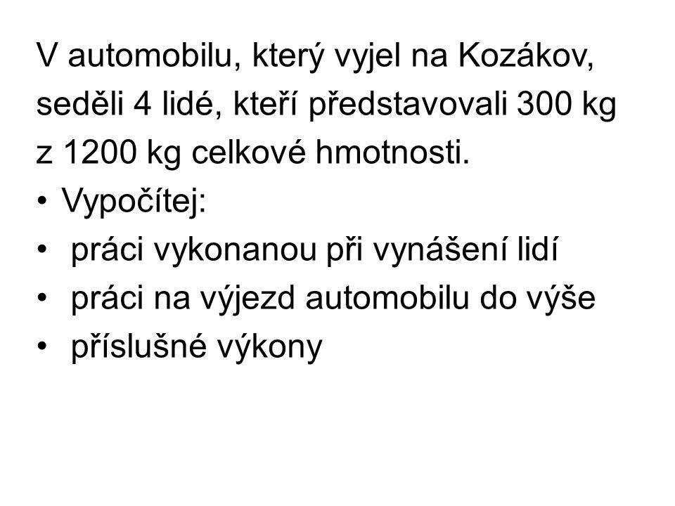V automobilu, který vyjel na Kozákov, seděli 4 lidé, kteří představovali 300 kg z 1200 kg celkové hmotnosti.
