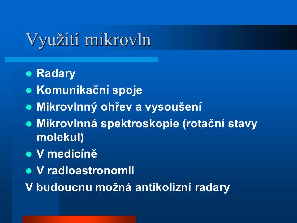 Využití mikrovln Radary Komunikační spoje Mikrovlnný ohřev a vysoušení Mikrovlnná spektroskopie (rotační stavy molekul) V medicíně V radioastronomii V budoucnu možná antikolizní radary