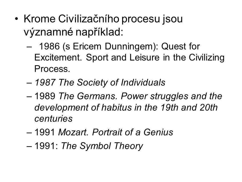 Krome Civilizačního procesu jsou významné například: –1986 (s Ericem Dunningem): Quest for Excitement. Sport and Leisure in the Civilizing Process. –1