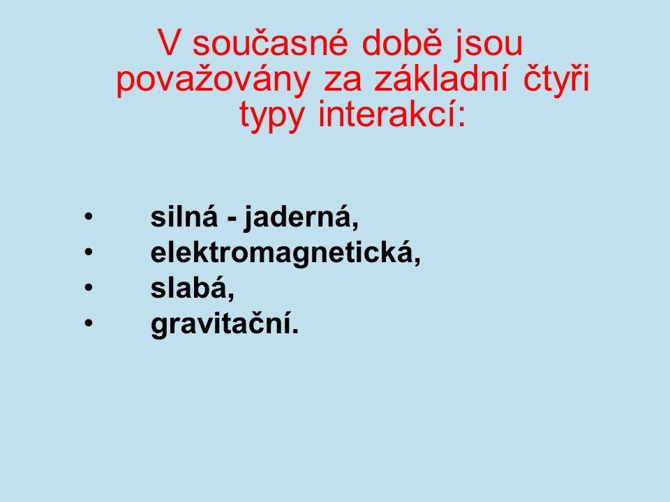 V současné době jsou považovány za základní čtyři typy interakcí: silná - jaderná, elektromagnetická, slabá, gravitační.