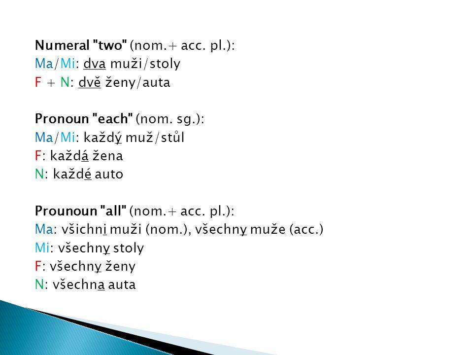 Numeral two (nom.+ acc.pl.): Ma/Mi: dva muži/stoly F + N: dvě ženy/auta Pronoun each (nom.