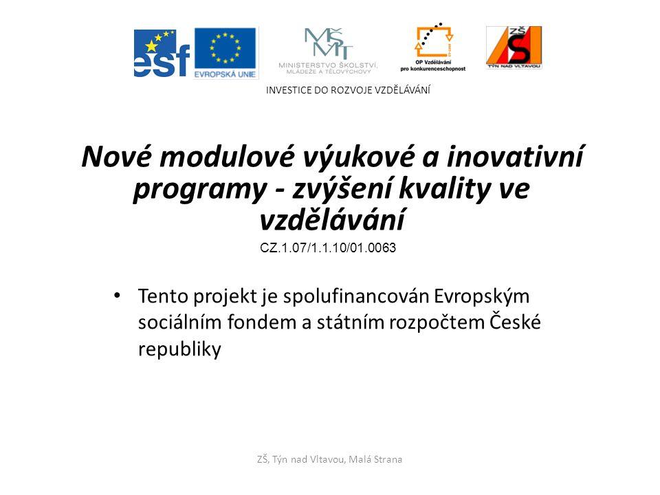 Tento projekt je spolufinancován Evropským sociálním fondem a státním rozpočtem České republiky INVESTICE DO ROZVOJE VZDĚLÁVÁNÍ ZŠ, Týn nad Vltavou, Malá Strana Nové modulové výukové a inovativní programy - zvýšení kvality ve vzdělávání CZ.1.07/1.1.10/01.0063