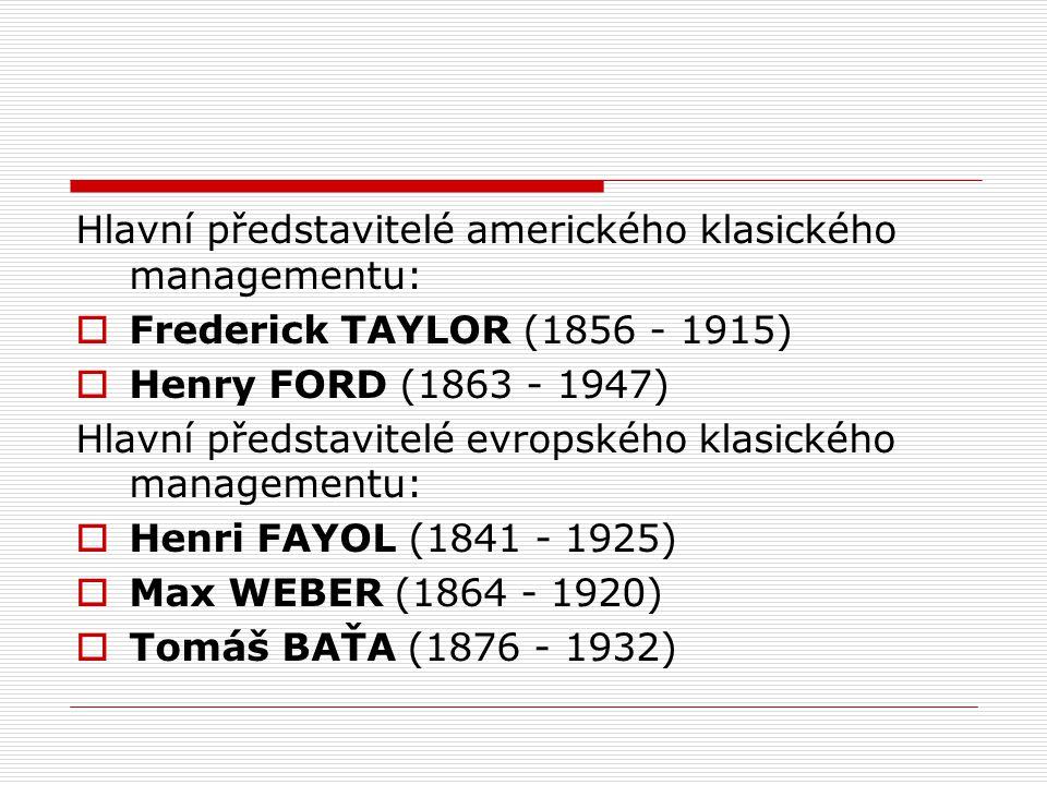 Hlavní představitelé amerického klasického managementu:  Frederick TAYLOR (1856 - 1915)  Henry FORD (1863 - 1947) Hlavní představitelé evropského klasického managementu:  Henri FAYOL (1841 - 1925)  Max WEBER (1864 - 1920)  Tomáš BAŤA (1876 - 1932)