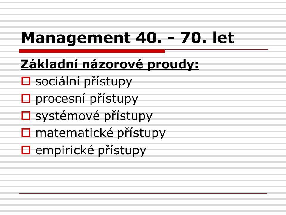 Management 40. - 70. let Základní názorové proudy:  sociální přístupy  procesní přístupy  systémové přístupy  matematické přístupy  empirické pří